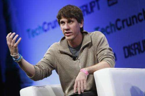 Dennis Crowley of Foursquare speaks at a conference on April 29, 2013 in New York City