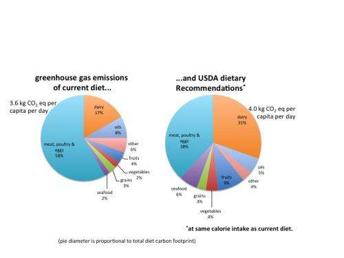 Dietary recommendations may be tied to increased greenhouse gas emissions
