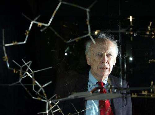 Dr. James Watson is seen with the original DNA model ahead of a press conference at the Science museum in London on May 20, 2005