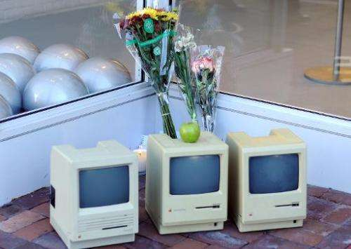 Early Macintosh computers in front of the Apple Store in Washington, DC on October 6, 2011