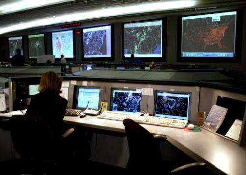 Federal Aviation Administration System Command Center in Herndon, Virginia, on August 12, 2002