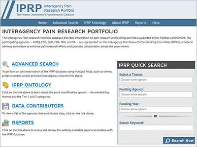 Federal pain research database launched