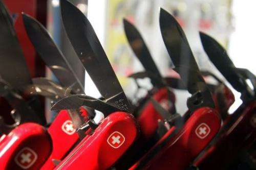 File photo of Swiss army knives in a shop in Montreux