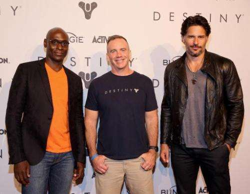 (From L) Lance Reddick, voice of Commander Zavala in 'Destiny', Pete Parsons, COO of Bungie, and actor Joe Manganiello attend th