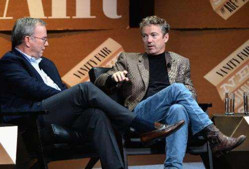 Google Executive Chairman Eric Schmidt and US Senator of Kentucky Rand Paul speak onstage during 'Why Can't Tech Save Politics?'