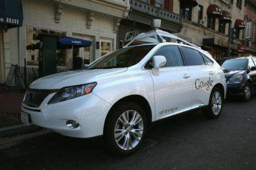 Google's Lexus RX 450H Self Driving Car is seen parked on Pennsylvania Ave. in Washington, DC, on April 23, 2014