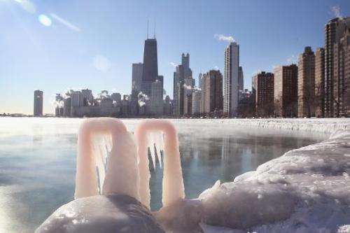 Ice forms along the shore of Lake Michigan in Chicago, Illinois as temperatures hovered around -10 degrees on January 28, 2014