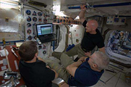 Image: Astronauts watch the World Cup aboard the International Space Station