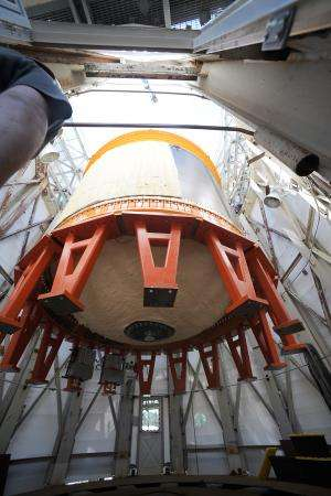 Image: Composite cryotank loaded into test stand at NASA's Marshall Space Flight Center