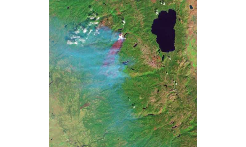 Image: King fire in California, false-color infrared