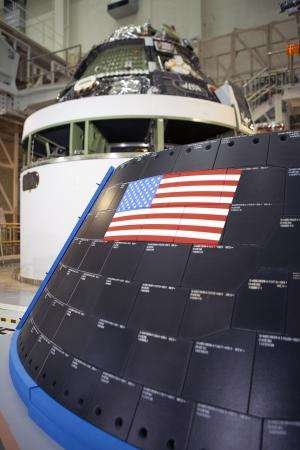 Image: Orion crew module at the Neil Armstrong Operations and Checkout Building, Kennedy Space Center