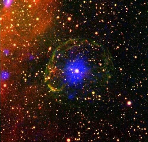 Image: Pulsar encased in a supernova bubble