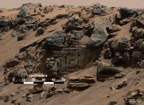 Image: Sedimentary signs of a Martian lakebed