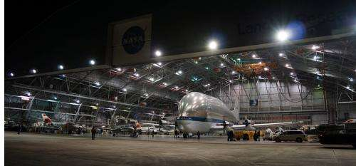 Image: Super Guppy spends a restful night in the NASA Langley hangar
