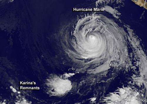 Karina's remnants drawn into Hurricane Marie's spin
