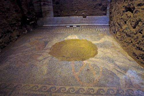 Large mosaic in ancient tomb uncovered in Greece