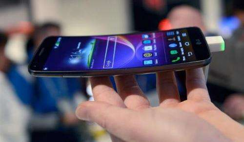 LG G-Flex smartphone is seen on display during the 2014 International CES, at the Las Vegas Convention Center, Nevada, on Januar