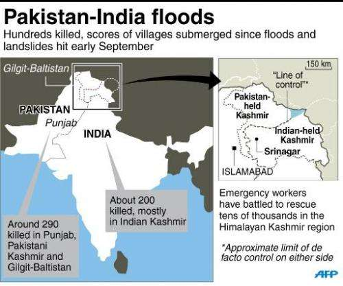 Map showing areas of Pakistan and India hit by deadly floods and landslides since early September
