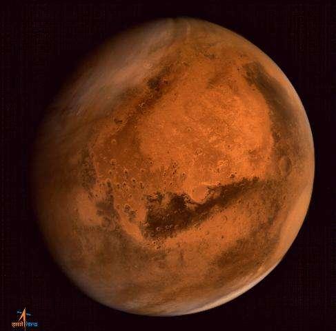 Mars is seen in an image taken by the ISRO Mars Orbiter Mission (MOM) spacecraft