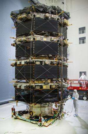 NASA's MMS observatories stacked for testing