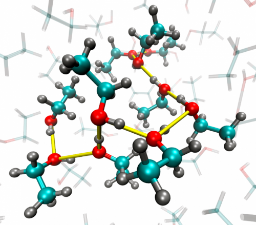 Molecules in liquid alcohol