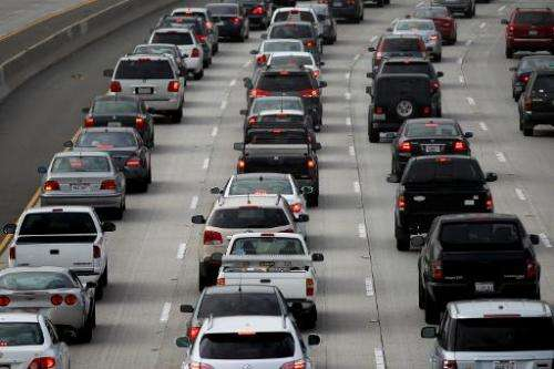 Morning traffic fills the SR2 freeway on April 25, 2013 in Los Angeles, California