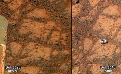 NASA image shows before-and-after of the same patch of ground in front of NASA's Mars Exploration Rover Opportunity 13 days apar