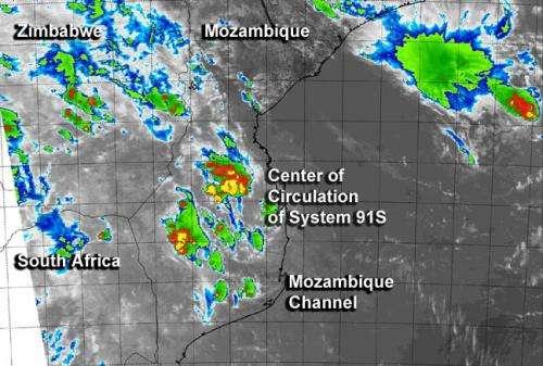 NASA's Aqua satellite sees System 91S struggling
