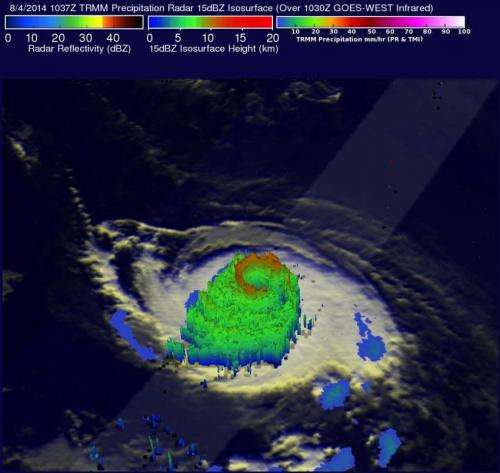 NASA sees heavy rain in Hurricane Iselle as it heads toward Hawaii