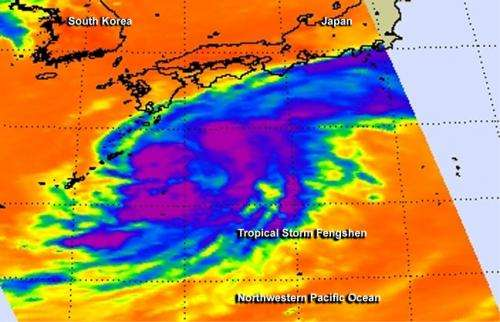 NASA sees large Tropical Storm Fengshen skirting eastern Japan's coastline