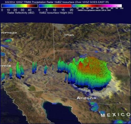NASA tracks Norbert moisture to Arizona's drenching thunderstorms