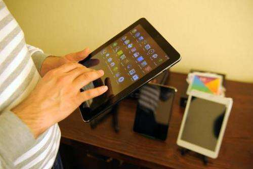 One of the Armenia's first tablet computers, ArmTabs, designed by the joint Armenian-US company Minno, seen in Yerevan, on March