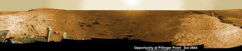 Opportunity peers out from 'Pillinger Point'