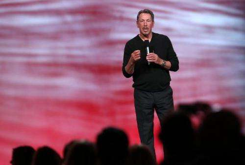 Oracle CEO Larry Ellison delivers a keynote address during the 2013 Oracle Open World conference on September 22, 2013 in San Fr