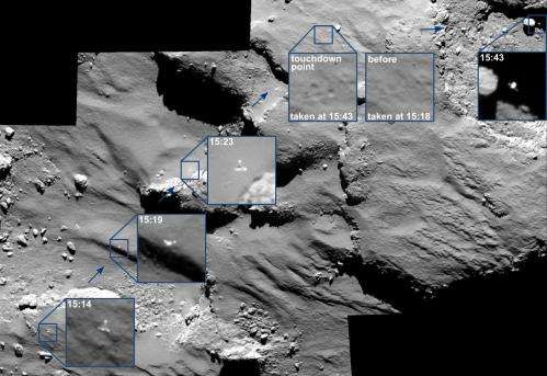 OSIRIS spots Philae drifting across the comet
