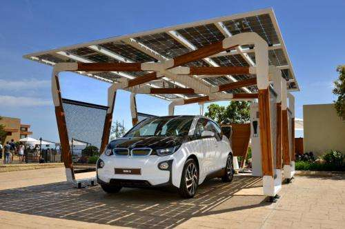 BMW unveils eco-friendly iSolar carport that supplies power to its car