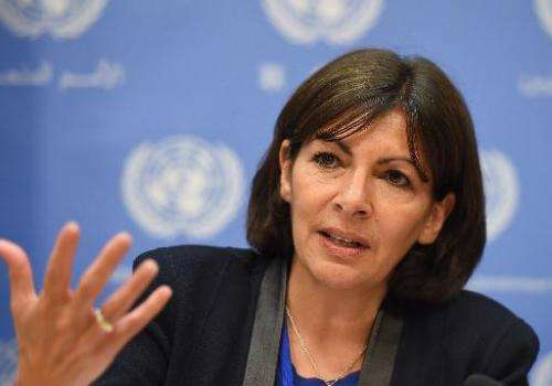 Paris Mayor, Anne Hidalgo, attends a press briefing on 'sustainable urbanization and the climate change challenge', at United Na