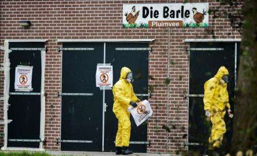 People in protective gear walk by the poultry farm where a new outbreak of bird flu has been found in Zoeterwoude, The Netherlan