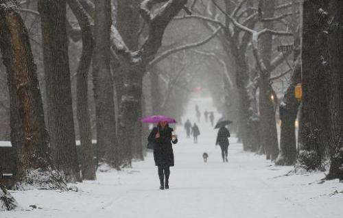 People walk during a snow storm in New York, January 21, 2014