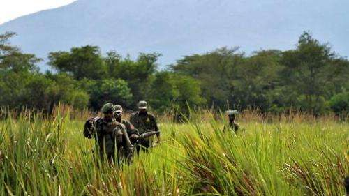 Rangers patrol in the Democratic Republic of Congo's Virunga national park on April 26, 2012