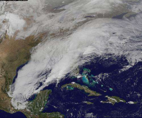 Satellite video shows movement of major US winter storm