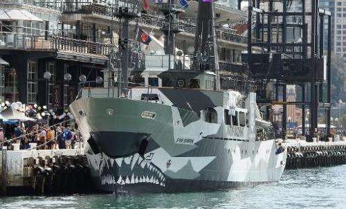Sea Shepherd's newest ship, the Sam Simon is moored at Circular Quay in Sydney, on August 31, 2013