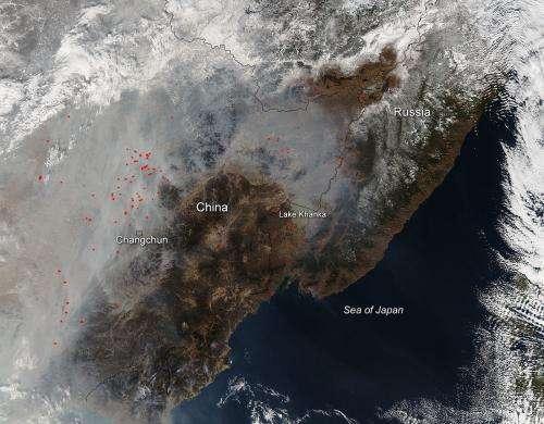 Smoke and haze over China