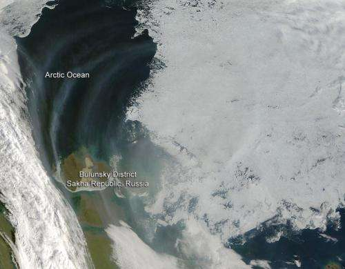 Smoke from Russian fires over Arctic Sea