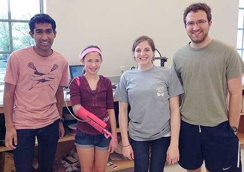 Students 'print' pink prosthetic arm for teen girl