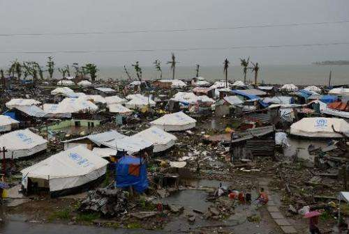 Tents that were erected as temporary shelters for residents whose houses were flattened by super Typhoon Haiyan are picture in T