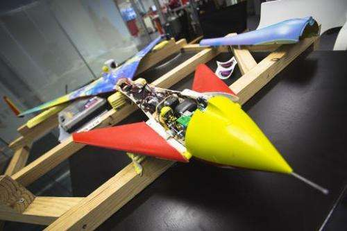 The 3D printed rocket is seen prior to assembly in central London on October 10, 2014