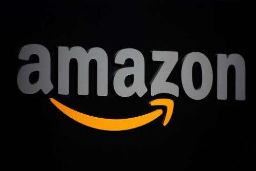 The Amazon logo is seen at a press conference in New York, September 28, 2011