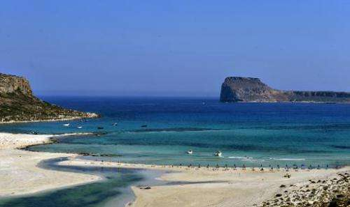 The Balos beach on the Gramvousa peninsula, northwestern Crete Island on July 15, 2010