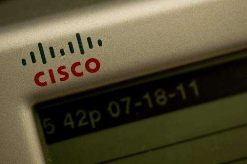 The Cisco logo is seen on a telephone in Washington,DC in this July 18, 2011 photo